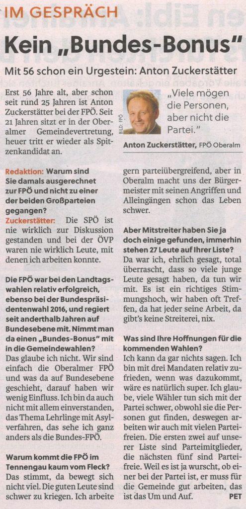 Ing. Anton Zuckerstätter - Bürgermeisterkandidat für die Marktgemeinde Oberalm